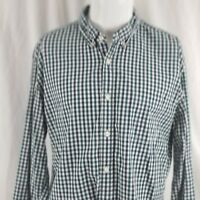 J. Crew Men's XL Slim Fit Green Blue Plaid Collared Button Down l/s Dress Shirt