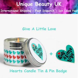 John Lewis Advert 2020 GIVE A LITTLE LOVE Hearts Candle Tin & Pin Badge - New