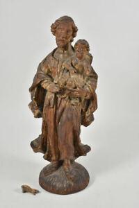 g72x36- Barock Figur, Josef mit Jesuskind, Holz geschnitzt