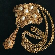 Fabulous Vintage Miriam Haskell Pendant Necklace~Pearls/Filigree/Goldtone~Signed