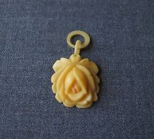 ANTIQUE CREAMY CELLULOID LARGE ROSE FLOWER PENDANT