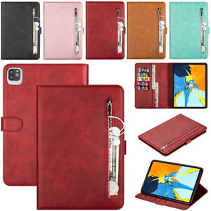 For Apple iPad Models Smart Magnetic Leather Zipper Wallet Flip Stand Case Cover