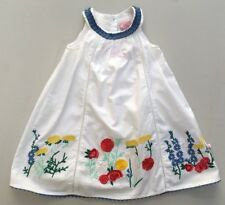 Cutey Couture Dress Embroidered Flowers Ruffles White Cotton Summer Boho 2-3 Y