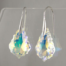 AB Moonlight Clear Crystal Baroque Leaf 20mm 925 Silver Drop Dangle Earrings