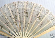 Antique Vintage Old Child's Play Woman's Doll's Fan Silk Painted Leaves H921134b