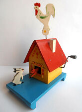1950s USSR Russian Soviet Wooden Mechanical Toy BARREL ORGAN Fairy-Tale Log Hut