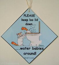 TURKISH VAN CAT PLEASE KEEP LOO LID DOWN TOILET LAMINATED SIGN SUZANNE LE GOOD