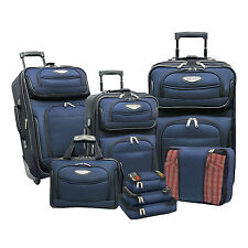 Traveler Choice Navy Amsterdam 8pc Wheel Luggage Suitcase Tote Packing Cubes Set