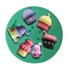 Cartoon Cottages Houses 6 Cavity Silicone Mold for Fondant, Gum Paste, Chocolate