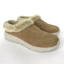 Skechers 6 Chestnut GoWalk Suede Faux Fur Clogs Brilliant