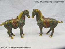 """9"""" Chinese Feng Shui Pure Bronze Copper Cloisonne Enamel Horse animal Pair"""