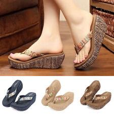 Women Wedge Platform Thong Flip Flops Sandals Shoes Beach Casual Slippers Summer