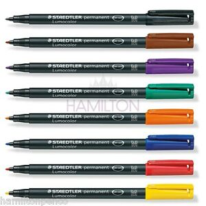 STAEDTLER LUMOCOLOR PERMANENT MARKER PENS - MEDIUM tip in choice of 8 colours