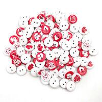 Ee _ 100Pcs de Madera Redondo Corazón Botones Costura Manualidades Tarjetas DIY