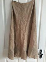laura ashley uk 10 beige nude 100%linen broderie Long skirt