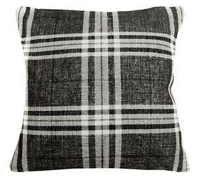 Qa105Aa Gray Brown Rough Linen Blend Check Stripe Cushion Cover/Pillow Case