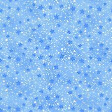 Fabric Stars Mixed White Blue on Baby Blue Flannel 1/4 Yard