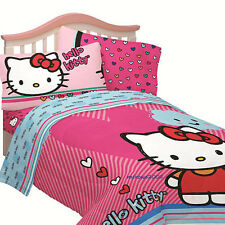 4pc HELLO KITTY Hearts TWIN COMFORTER SHEETS BED SET Single Pink Blue Girls Cat