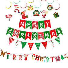 Merry Christmas Banner Bunting Garland Hanging Screw Santa Claus Party Decors