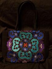 Chinese embroidery black canvas laptop bag floral tribal ethnic vintage handbag