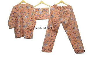 Indian Handblock Floral Print Cotton Pajama Set Women Sleepwear Orange Pj Set