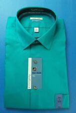 Van Heusen Tall Men's Dress Shirt Medieval Green 17 35/36 No Iron Sateen Lux New