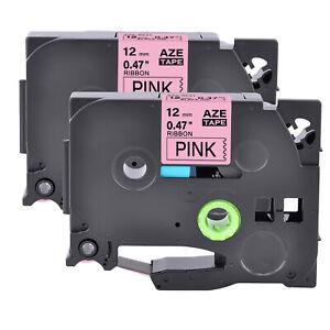 2PK Fits Brother P-Touch Embellish Satin Ribbon TZe TZ-RE31 Black On Pink Tape