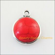 8Pcs Retro Tibetan Silver Tone Round Red Turquoise Charms Pendants 17mm