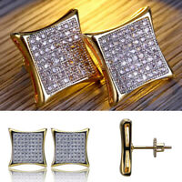 New 18K Gold Plated Cubic Zirconia Bling Hip Hop Men's Stud Earrings Jewelry