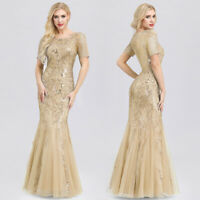 Ever-Pretty Gold Sequins Fishtail Bodycon Party Dress Glitter Evening Gown 07705