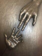 "Cold Cast Bronze ""ALMOST"" Hands Signed Wall Art Sculpture Relief HANDMADE"