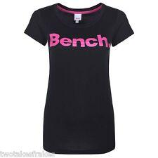 BENCH WOMENS ZEK CORE LOGO PRINT TEE T-SHIRT TOP In Black Pink Bnwt New UK 8 XS