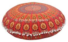 "Ethnic Mandala Round Pillow Cases 32"" Decorative Meditation Floor Cushion Cover"