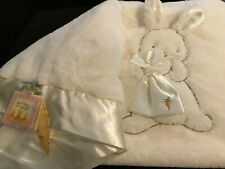 Bunnies By the Bay Blanket of BUNNY WITH CARROT BAG~NEW WITH TAGS~RARE~WHITE