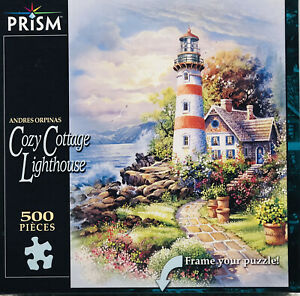 "Andres Orpinas ""Cozy Cottage Lighthouse"" 500 Piece Jigsaw Puzzle Prism"