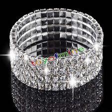 4 Rows Clear Silver Wedding Bridal Crystal Diamante Rhinestone Stretch Bracelet