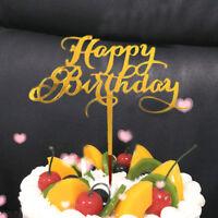 Hot Cake Topper Happy Birthday Acrylic Baking Cake Insert Decor Party Decoration