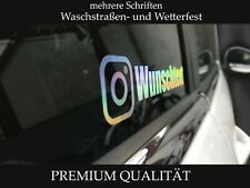 Instagram WUNSCHTEXT Auto Aufkleber Sticker HOLOGRAMM EFFEKTFOLIE 15cm Oilslick