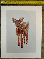 Handmade Art Print Mount Fawn Deer Wildlife Countryside Painting Gift Nature