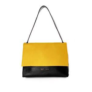 Celine Yellow Beige Black Leather Tricolor All Soft Shoulder Bag Handbag