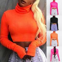 Women Solid Fluorescent Color Turtleneck T-Shirt Long Sleeve Short Blouse Tops