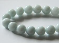 50pcs 8mm Round Gemstone Beads - Malaysian Jade - Opaque Pale Steel