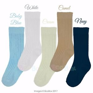 Baby Boys & Boys 3/4 Knee High Spanish Style Plain Ribbed Socks Socks 0-9 Years