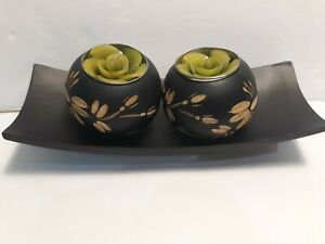 Mango Wood Candle Holders w/Tray & tea light Candles Hand Etched Floral Green