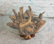 Reclaimed teak root hand finished table solid teak coffee table glass topped