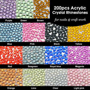200pcs Acrylic Flatback Crystals for Nails and Art Work