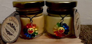Set Of Two Cheerful Soy/beesWax Candles. 1xJasmine 1x Sandalwood Great Gift 🎁❤️