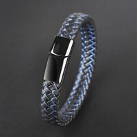 Magnetic Clasp Bracelet Leather Men Braided Bangle Wristband Cuff Stainless Hand