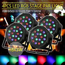 4PCS 18X3W LED BÜHNENBELEUCHTUNG LICHT DMX RGB WASH LICHTER HOCHZEIT DJ PARTY