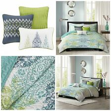 King Size Blue Green Abstract Quilted Coverlet Set Bedding Pillows Shams Quilt